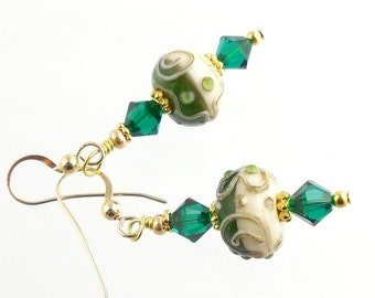 Green and White Beaded Crystal Lampwork Earring, Lampwork Jewelry, Glass Bead Earring, Holiday Jewelry, Fashion Jewelry, Fashion Accessories