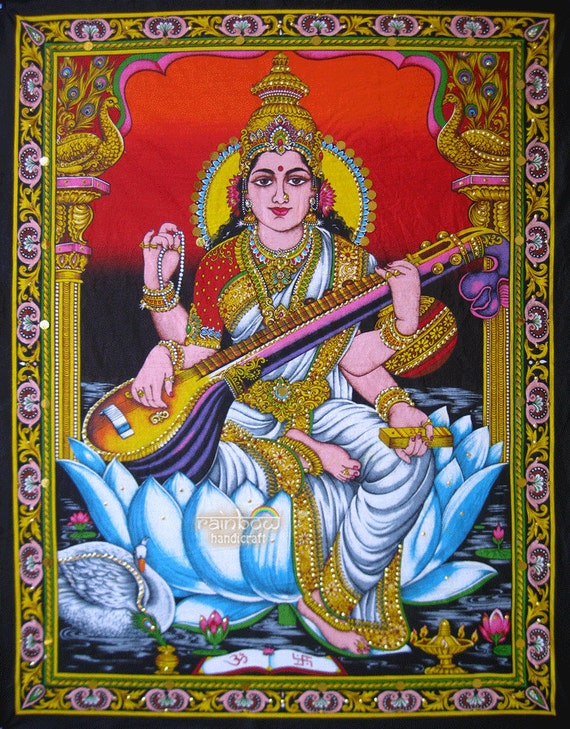 Hindu Goddess Of Art N Wisdom Saraswati Sequin Cotton Painting