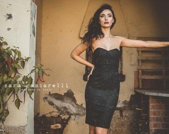 LITTLE BLACK DRESS, bustier dress, black strapless dress, bridesmaid sheath dress, fitted evening dress, black formal dress, pencil dress