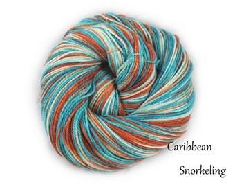 Caribbean Snorkeling - Hand Dyed, Hand Painted Panda Sock Yarn (superwash merino, bamboo, nylon) 4oz/113g/450yrds