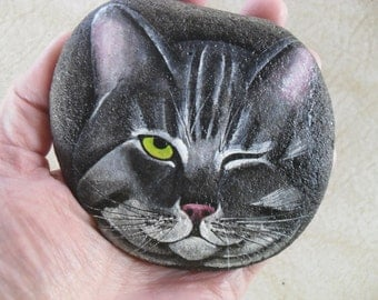 Lazy Cat Face Painted Rock OOAK