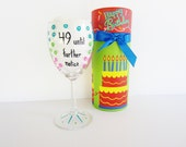 funny wine glass hand painted wine glass with decorative box... 49 until further notice 50th birthday gift