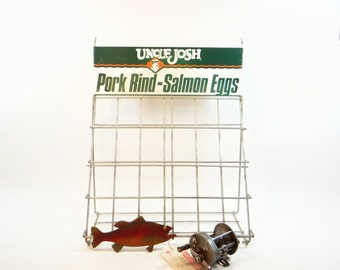 Fishing Bait Display Rack Uncle Josh Pork Rind - Salmon Eggs - Bait and Tackle Shop Display - Wire Rack Store Display