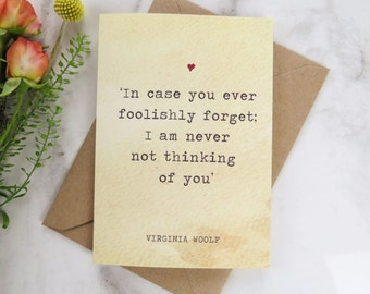 Literature Valentines Card Virginia Woolf Quote - Love Card - Book Lover - Card for Girlfriend - Boyfriend - Valentine's Day Card - Weddings