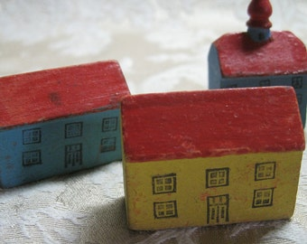 Miniature Wooden German Houses, School and Church, set of 4