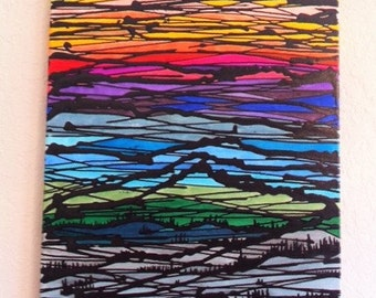 """Hand Painted Acrylic On Canvas """" Mountain View ''"""