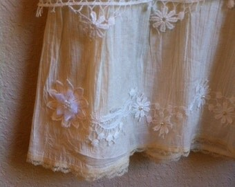 White and ivory lace skirt with pearl flower accents