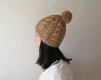 Hand Knitted Cable Hat in Camel, Chunky Beanie with Pom Pom, Hat for Women, Seamless, Wool Blend, Winter Accessories, Made to Order
