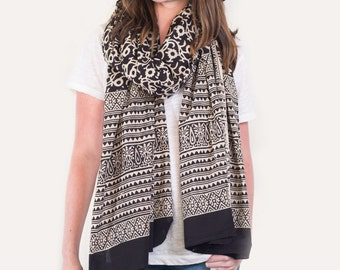 Oversized Black and White Floral, Scarf, Pareo, Sarong - Hand block printed, Natural Vegetable Dyes, Pareo, Stole, Shawl