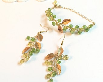 Gold Bracelet and Earring Set, green earrings, crystal bracelet, dangle earrings statement, earrings and bracelet green, beaded bracelet