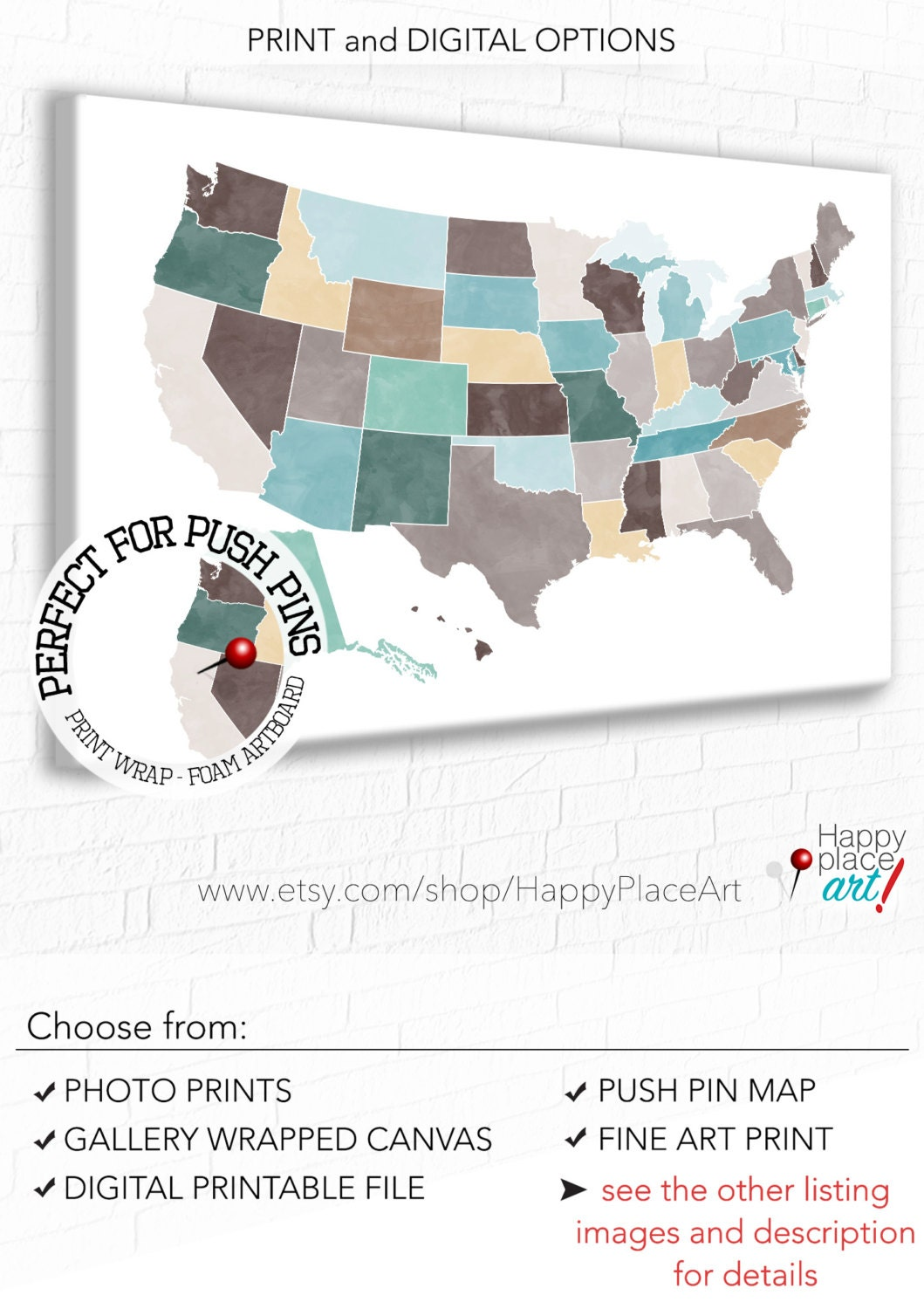 Customised USA Map Large US Map Usa Push Pin Map Usa Pin - Large us map printable