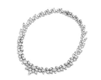 CZ Necklace, Wedding Necklace, Bridal Necklace, Cubic Zirconia Necklace, CZ Jewelry, Wedding Jewelry, Bridal Jewelry,Bride Necklace ~JN-1645