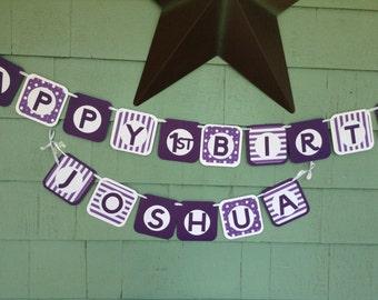 Happy Birthday Banner any color stripes polka dots boy girl birthday banner