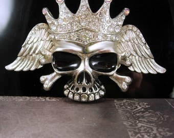 HUGE Skull BUCKLE  Biker goth Wings Clothing Accessory Silver mens cool gift