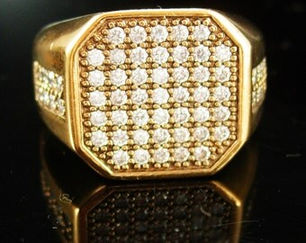 Vintage mens Ring Gold Pave CZ Jewelry mens cool gift hipster jewellery size 11