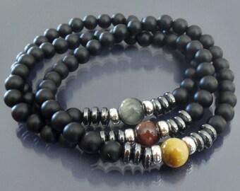 Zen bracelet Mens black onyx bracelet Tiger eye & matte black onyx bracelet Men mala bracelet Buddhist bracelet Protection energy bracelet