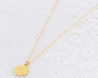 Gold Disc Necklace Small Circle Necklace Simple Disc Everyday Layering Necklace Gold Filled Jewelry.