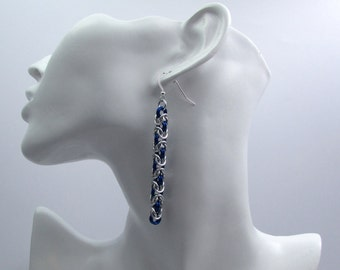 Royal Blue and Silver Chainmaille Earrings - Byzantine Weave Earrings - Nickel Free Handmade Chainmail