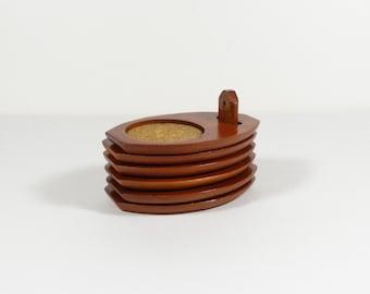 Milbern Teak Coasters with Holder - Vintage Teak - Teak and Cork Coasters - Set of 5 - Tiki Bar