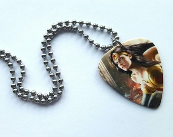 Wonder Woman Guitar Pick Necklace with Stainless Steel Ball Chain - super hero - comic book - DC Comics