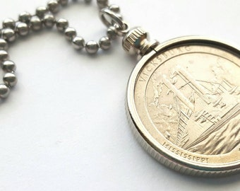 Vicksburg Coin Necklace with Stainless Steel Ball Chain or Key-chain - 2011 - National Park Quarters