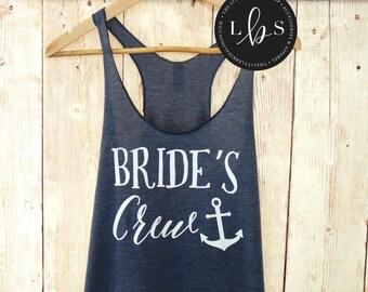 Bride's Crew Tank Top.  Bridesmaid Tank. Bridesmaid Tanks. Bridesmaid Shirts. Nautical Tanks Mate of Honor Anchor Bachelorette Party Shirts