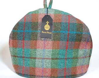 Harris Tweed tea cosy, teapot cover brick red turquoise green plaid fabric tea cozy.