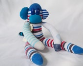 Red blue sock monkey, sock animal, soft plush toy monkey. Mason Monkey.