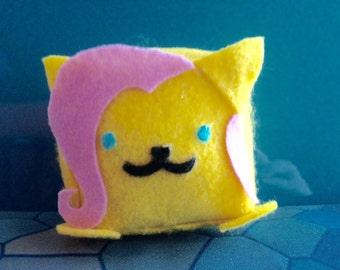 Fluttershy Neko Atsume My Little Pony Felt Cube Plushie