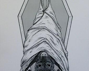 Coffin Fruit Bat Print Original Black & White Art 8x11 A4