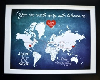 Valentines day gift, long distance relationship love quote, map gift, couple, boyfriend personalized world map hearts, unique custom gift