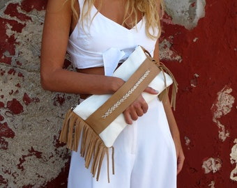 Fringed Clutch Bag, Leather Clutch FCL02 NEW