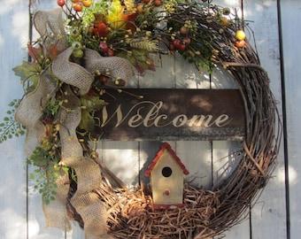 Fall wreath - Autumn Wreath - Welcome Wreath - Rustic Wreath - Everday Wreath - Grapevine  - Birdhouse Wreath - Country Welcome Wreath