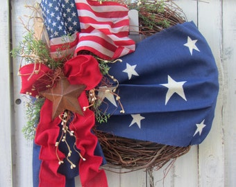Patriotic Wreath - 4th of July Wreath - Summer Wreath - American Wreath - Star Wreath - Country Wreath - Rustic Patriotic Wreath - Primitive