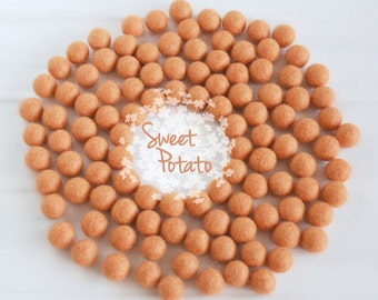 Wool Felt Balls - Size, Approx. 2CM - (18 - 20mm) - 25 Felt Balls Pack - Color Sweet Potato-5015- Dusty Orange Felt Balls - 2Cm Felt Balls