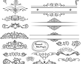 BLACK Digital Clipart Frames wedding clip art  Embellishment Text Dividers Buy 3 get 1 free clipart 0350