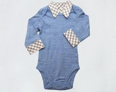 Onesie with Collar - Light Blue - Gray Gingham Faux Collar - Baby Boy - Dressy Onesie
