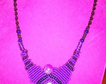 Purple and Black Necklace with Beads and Stone