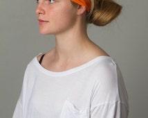 Yoga Orange Juice Headband - FLAWLESS by Manda Bees - Moisture Wicking Wide no slip Spandex headband - ORANGE JUICE