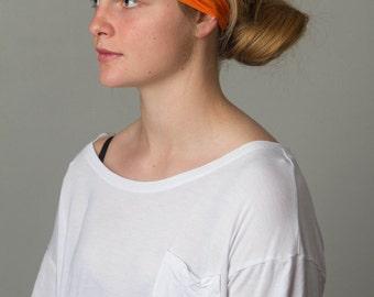 Running headband - yoga Orange Juice Headband - FLAWLESS by Manda Bees - Moisture Wicking Wide no slip Spandex headband - ORANGE JUICE