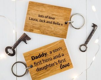 Daddy A Sons First Hero, Daughters First Love Keyring - Birthday Gift - Daddy Keyring - Gift for Daddy - Keyring Personalised - Daddy Son
