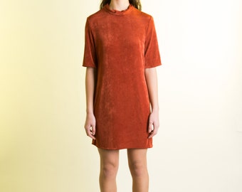 Copper Silk Nylon Jersey Knit Collared Slinky T Shirt Dress
