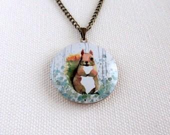 Watercolour Squirrel Locket,Woodland Animal Art White Background, Brass Altered Art Necklace Cute Squirrel
