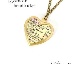 Denver Map Necklace, Antique Map Jewelry, Brass Heart Locket, Vintage Locket, Colorado, City Necklace, Gift for Her