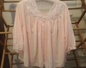 Vintage Pink Lace Ladies Bed Jacket Size XL So Sweet