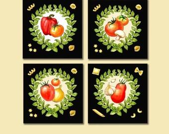 Italian Food Coasters, Tomato Coasters, Pasta Coaster Set, Marinara, Tomato Sauce, Retro Food, Spaghetti, Hostess Gift, Housewarming, Italy