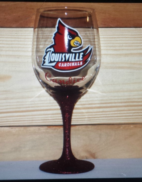 Sports Wine Glass With Or Without Glitter Stem Personalize