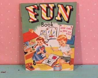 Vintage FUN Book, Samuel Lowe Co, 1940s 1950s, Games Puzzles Brainteasers Riddles, Mid Century Childrens Book