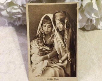 Beautiful c 1915 Egyptian Women Antique Postcard, with Baby, Native Women, Cairo Egypt, Black and White, Exotic Women
