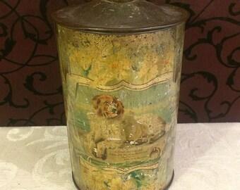 Very Worn Dog Themed Tin Box, Humane Society, Antique Tin Box, 1910s, PATINA, Primitive Tin, Edwin Landseer, Dog Lover Gift, Farmhouse Decor